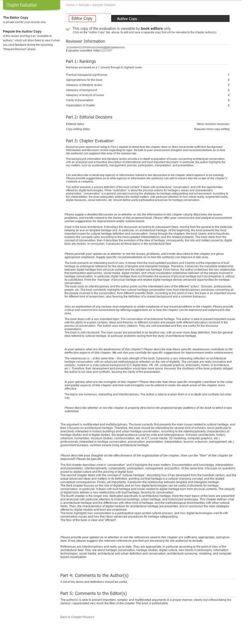 Sample Evaluation - Editor's Copy
