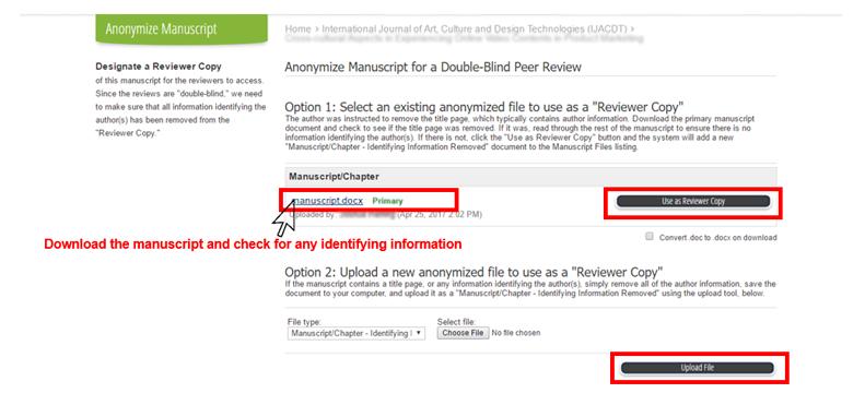 Anonymize Manuscript Page