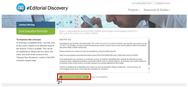 ERB Evaluation Reminder Email Template