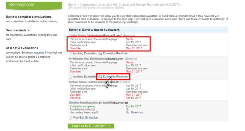 ERB Evaluation Reminder Email